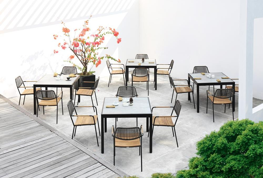 MEIKA STACKING CHAIR & ALLUX DINING TABLE